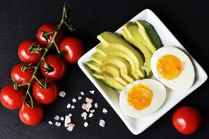 Tomatoes, avocado, and eggs