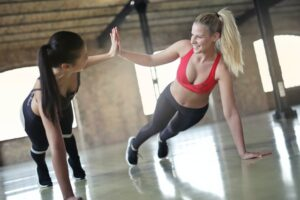 Happy women during a workout
